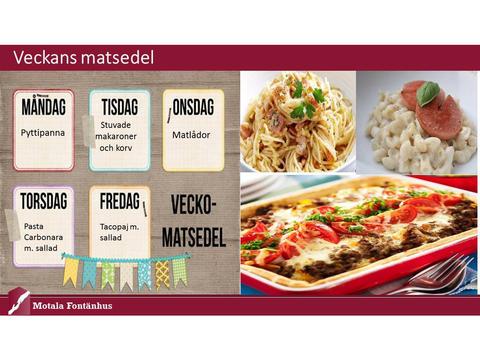 Veckans matsedel på Motala Fontänhus